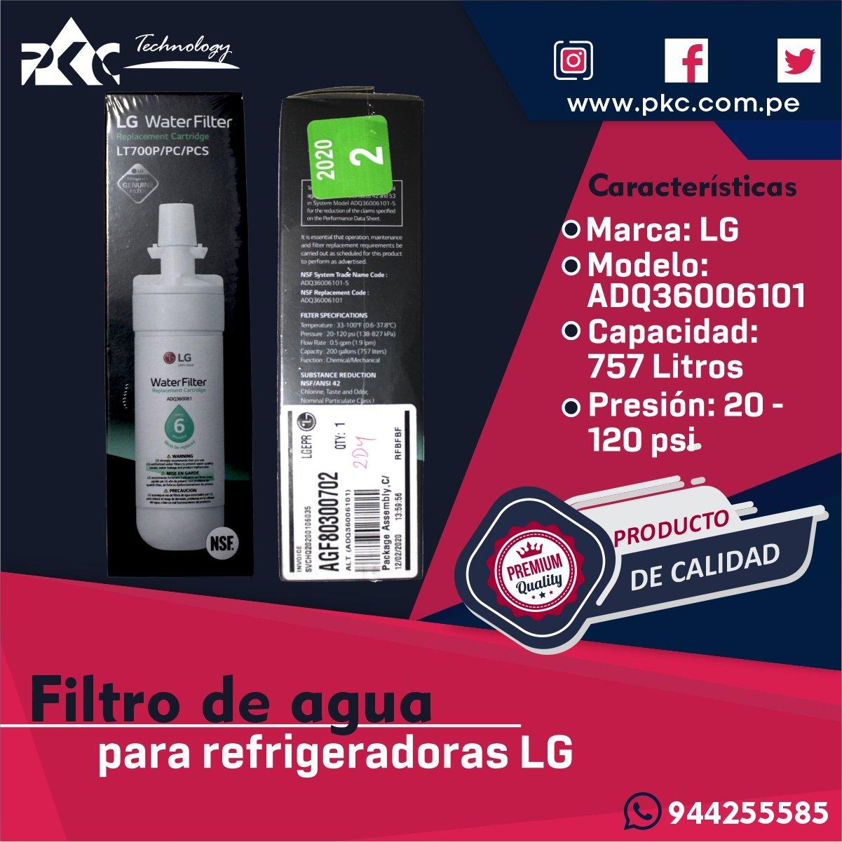 Filtro de agua Refrigeradora LG AGF80300702