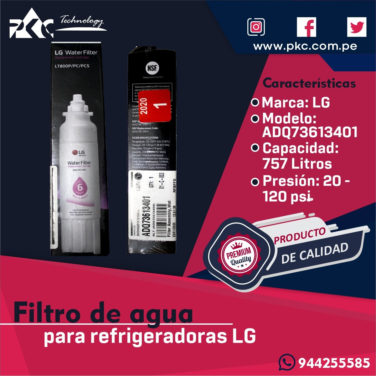 Filtro De Agua LG ADQ73613401
