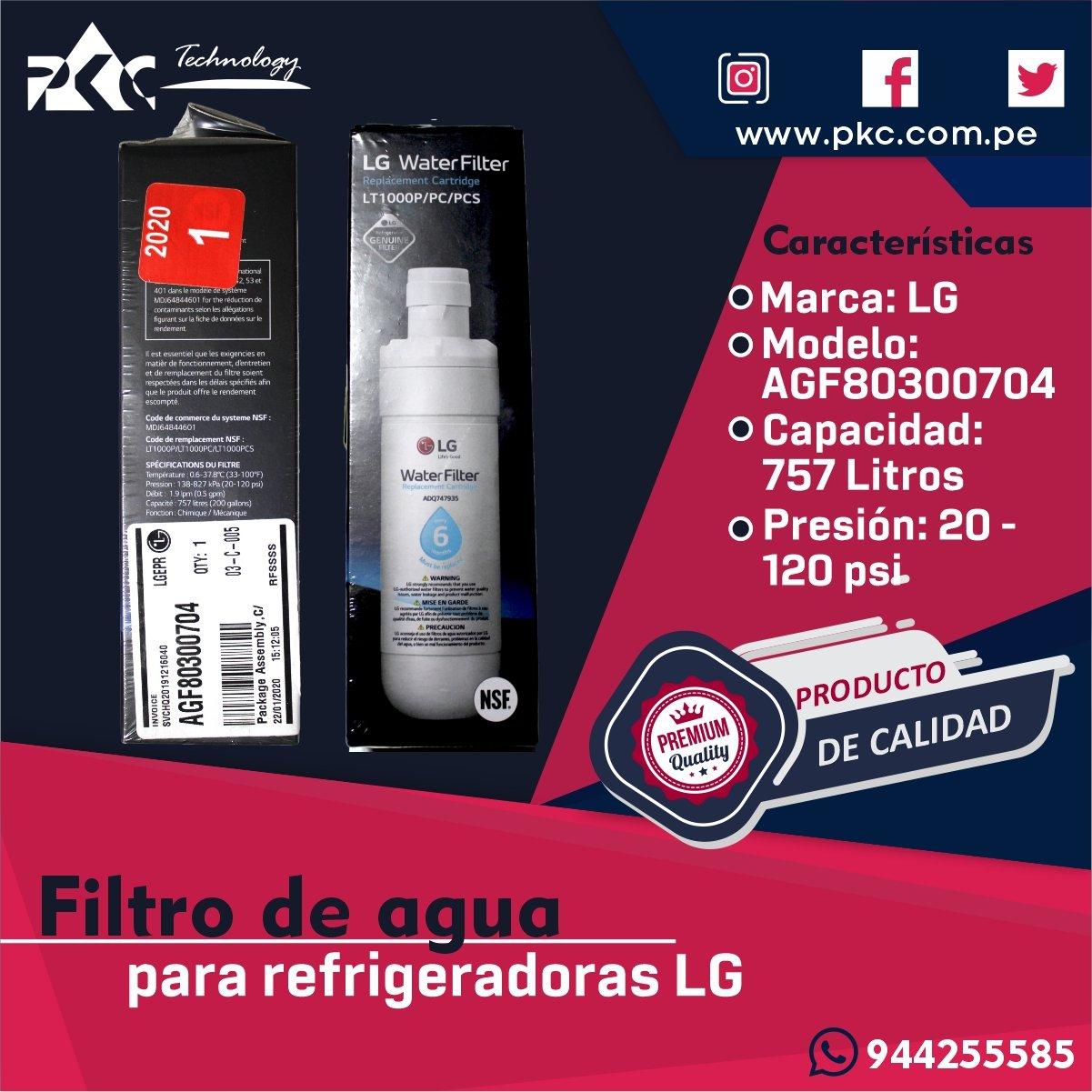 Filtro de agua Refrigeradora LG AGF80300704