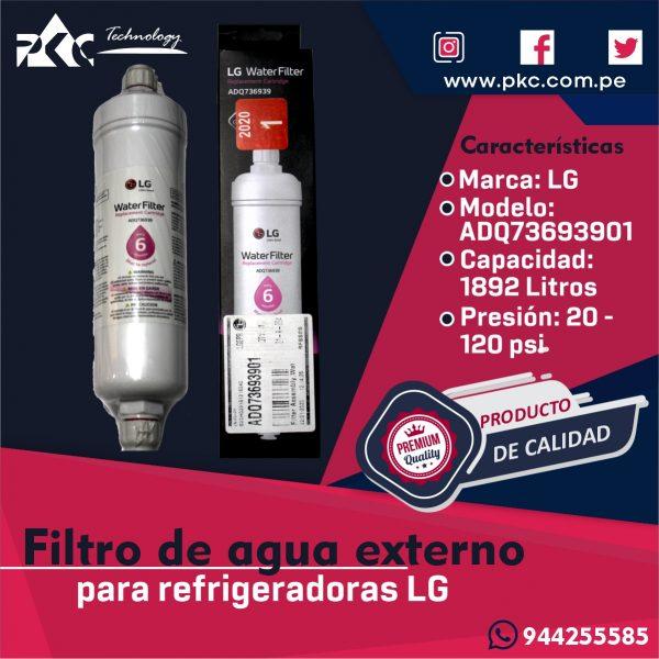 Filtro de agua Refrigeradora LG ADQ73693901